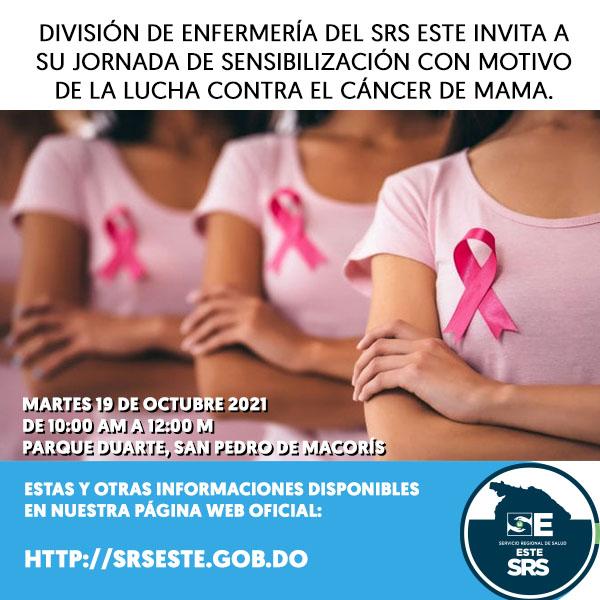 Division de Enfermeria SRS Este invita a jornada de sensibilizacion con motivo de la lucha contra el Cáncer de mama.
